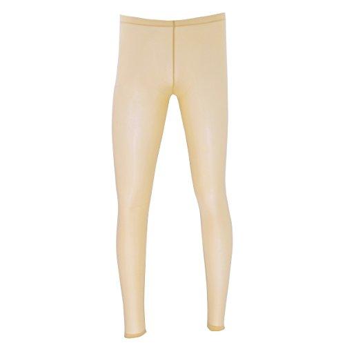 CHICTRY Herren Ice Silk Leggings Durchsichtig Strumpfhosen mit Pennishülle Elastische Pants Lange Tight Hose Unterhose Pantyhose Nachtwäsche in 4 Farbe Hautfarbe XL