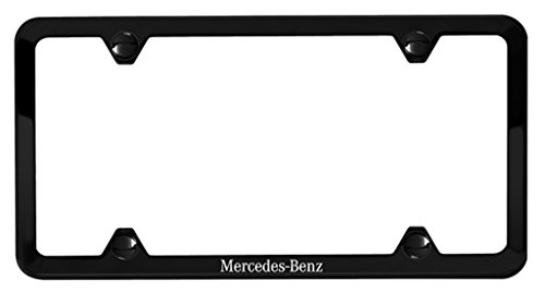 Genuine Mercedes Slimline Frame, Black Powder Coat with Mercedes-Benz etching Black Powder Coat