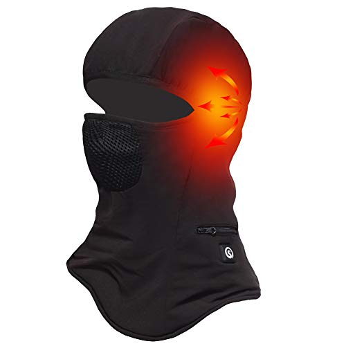 Battery Balaclava Face Mask Cold Weather,Heated Hat Windproof Thermal Fleece Ski Mask,Winter Women Men Skiing,Motorcycle,Riding Head Wrap Black