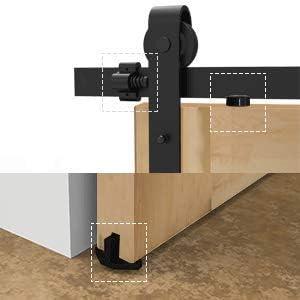 TSMST 200cm//6.6ft Schiebet/ürbeschlag T Form Laufschienen f/ür Schiebet/ür H/ängeschiene,Schiebet/ürsystem Set Passen 50cm Breit Doppelt/ür
