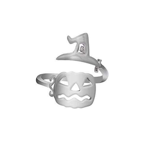 Yinew Halloween Open Ring Hexenhut Kürbis Gesicht Besen Ghost Einfache Offenen Ring Mode Party Cosplay Schmuck Frauen, Silber 1#