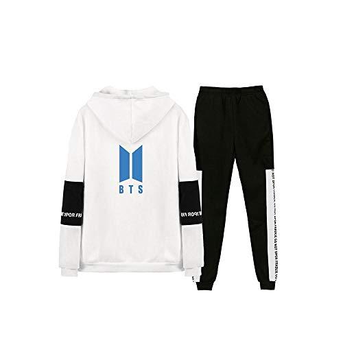 LALLing Unisex Jogging Trainingsanzug BTS Album MAP of The Soul: 7 Casual Langarm Stitching Hoodie Kapuzenpullover Sweatshirt Jogginghose 2 Stück Outfits Set