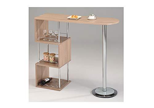 meubletmoi tavolo alto da bar bancone piano di lavoro legno e metallo–Mangia In Piedi–ripiani portaoggetti cucina–Lipsi