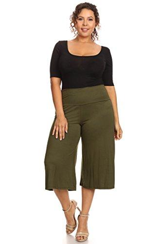 SHORE TRENDZ Plus Size Women's Gaucho Pants: Olive (1XL)