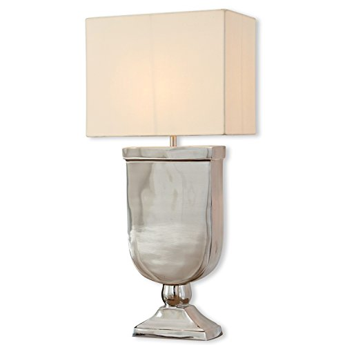 Loberon Tischlampe Denver, Baumwolle, Aluminiumguss, H/B/T 60/28 / 23 cm, silber/creme, E27, max. 60 Watt, A++ bis E