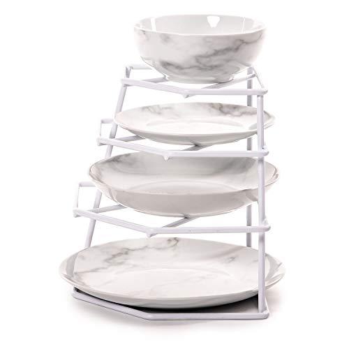 Estante para platos Home treats de esquina, para armario o encimera, color blanco