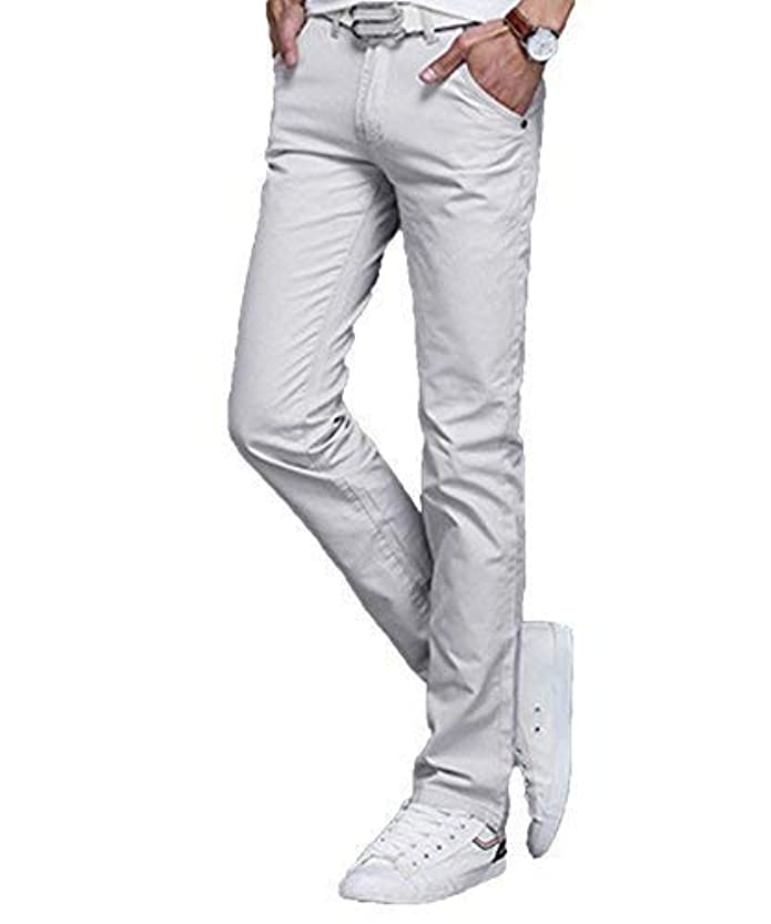 一時停止財産限界[セカンドルーツ] ライトウエイト チノパンツ スリム ストレート フロント YKK ジップ カラー パンツ メンズ