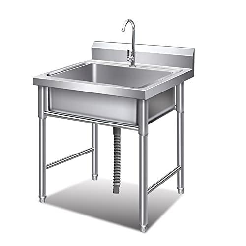 Enrasadode para Cocina Fregadero de acero inoxidable comercial, lavabo de un solo recipiente para el lavabo de la utilidad de garaje para el restaurante al aire libre, 24 x 24 x 31.5 pulgadas Fregader