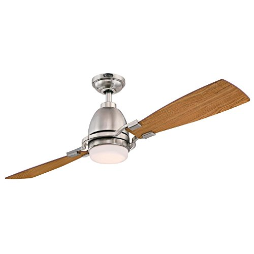 Westinghouse Lighting 7217700 Longo 54-Inch Brushed Nickel Indoor Ceiling, Dimmable LED Light Kit with Frosted Opal Glass, Remote Control Included USA FAN