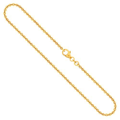 Goldkette als Ankerkette rund in Gelbgold 750 / 18K, 42 cm lang, 2 mm breit, Gewicht ca. 5.9 g.