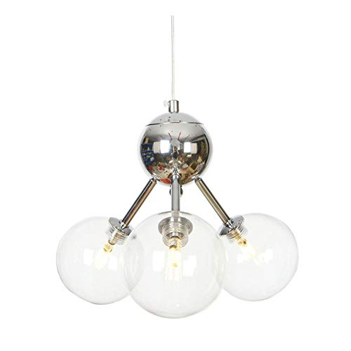 GJBHD 3 Luces Sputnik Lámpara De Techo, Led G4 Enchufe Vaso Lámparas De Araña Moderna Metal Hierro Lámpara Colgante De Araña Restaurante Salón Pasillo-cromo Transparente