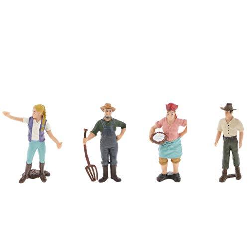 4pcs Farmer Model Toys Realistic Female Male Farmer Figure Model Figurine Kids Toy Home Decor