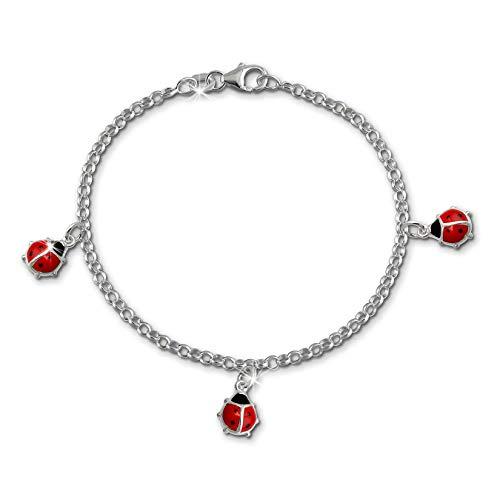 SilberDream Armband rot Marienkäfer Silber Schmuck für Kinder 16cm SDA012