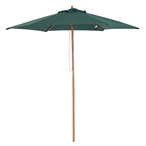 Outsunny Sombrilla Parasol para Terraza Playa Jardín Piscina Patio Camping - Color Verde - Poliéster Madera - 250x230 cm