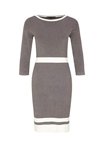 comma Damen 3/4-Arm Feinstrickkleid mit dekorativen Streifen Grey Melange 44
