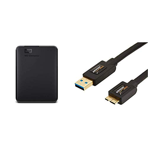 WD Elements Portable, Externe Festplatte - 3 TB - USB 3.0 - WDBU6Y0030BBK-WESN & AmazonBasics USB-3.0-Kabel A-Stecker auf Micro-B-Stecker (0,9 m)