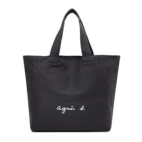 レディースバッグ トートバッグ ハンドバッグ バックパック コットントート アニエスベ キャンパスバッグ ボヤージュ 大容量 男女兼用 無地 (ブラック)