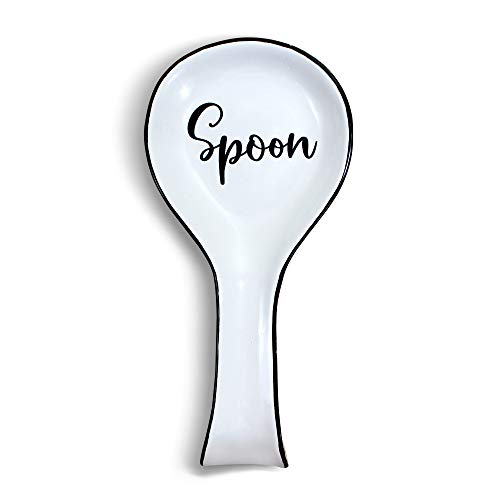 Home Acre Designs Spoon Rests for Kitchen-Spoon Rest for Stove Top-Modern Farmhouse Kitchen Decor-Spoon Rest Ceramic-Spoon Holder White-Spoon Rest Black-Spoon Rests for Kitchen Stove-Counter Top