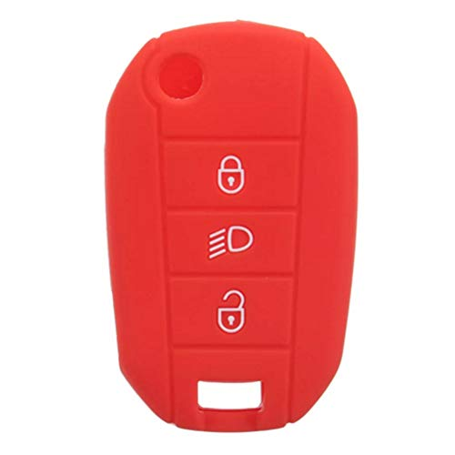 AAlamor Silicona Coche Llave Funda Protector Remoto Mando A Distancia para Peugeot 3008 208 308 - Rojo