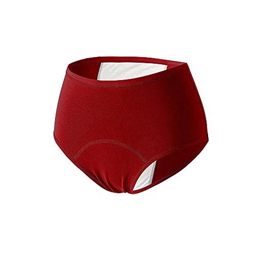 JKCTOPHOME Bragas sin Costuras para Mujer,Bragas mensuales de Gran tamaño de Cintura Alta sin Rastro de algodón Puro-Vino Rojo_XL #,Señoras Encaje Bragas de Moda