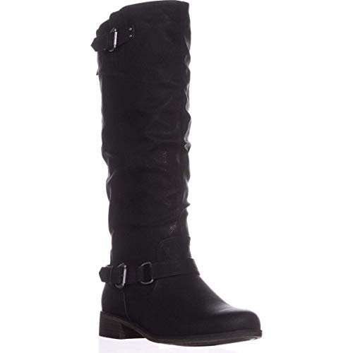 XOXO Womens Moira Fabric Round Toe Knee High Riding Boots Black