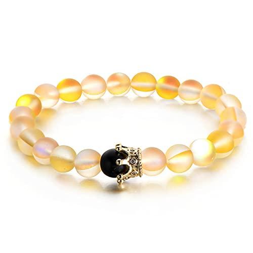 CXWK Pulseras de Cuentas de Piedra Lunar Natural de Moda para Hombre, joyería con Encanto, Pulsera con Corona de Cristal Dorado para Mujer, brazaletes