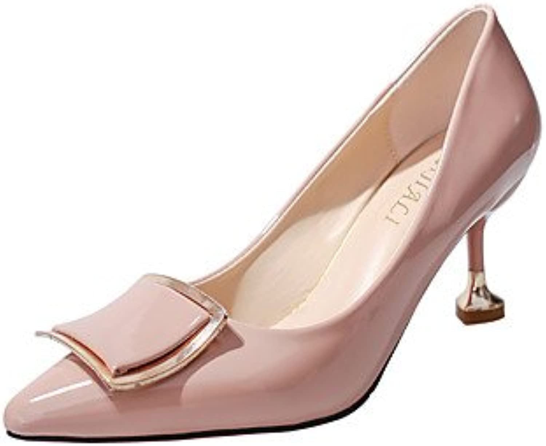 LvYuan-GGX Damen High Heels Komfort Formale Schuhe PU Herbst Kleid Party & Festivität Walking Komfort Formale Schuhe StöckelabsatzSchwarz Beige Rosa, Beige, us6.5-7   eu37   uk4.5-5   cn37  | Ab dem neuesten Modell