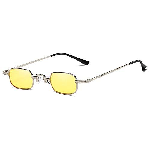 Gafas De Sol para Hombre Y Mujer Moda Hip Hop Cuadrado Gafas ProteccióN para ConduccióN Gafas De Deportes Al Aire Libre De Pesca De Moda Regalo De San ValentíN (Color : Silver Yellow)