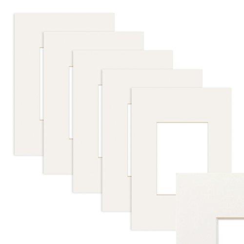 PHOTOLINI 5X Passepartout Weiß 40x50 cm (30x40 cm)