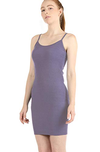 icyzone Bodycon Dresses for Women - Spaghetti Strap Tunic Midi Dress (M, Lavender)
