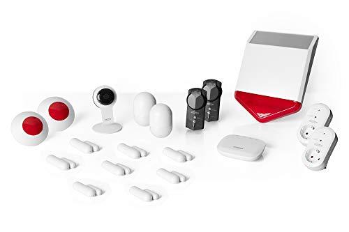ednet Smart-Home Set - HD-Kamera, USV, 8 Kontaktsensoren, 2 Bewegungsmelder, 3 Sirenen, 4 Funksteckdosen - Alexa Echo & Google Assistant