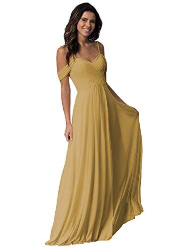 Elleybuy Sweetheart Neckline Bridesmaid Dresses,Off Shoulder Fromal Dress for Women Gold