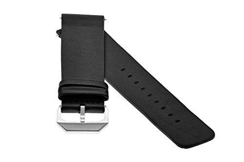 slow - Schwarzes Lederband mit silbernem Verschluss - 20mm Breite