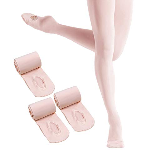 HETH Ballet Tights for Girls Toddler Ultra Soft Dance Ballet Convertible Tights With Holes(A-Pink 3 Pairs, X-Large)