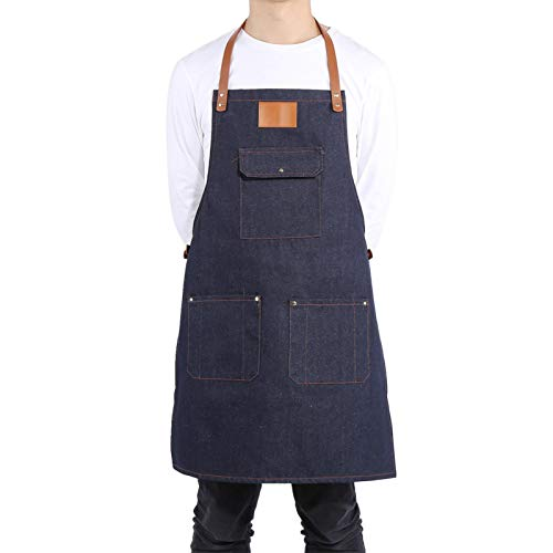 wosume Delantal con Peto de Mezclilla, Chef Cocina BBQ Grill Jean Delantal para Mujeres Hombres Correa de Cuero Delantal de Cocinero Baker Bartender BBQ Chef Work Cook(Denim Blue + Blank Logo)