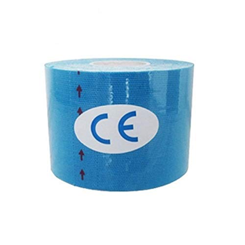 Hohe Qualität 15 Farbe 6 Rolls Wasserdicht Cotton Elastic Kinesiology Tape-Set Pflaster Knie-Ellenbogen-Schutz for Fitness Tennis Lauf (Color : Light Blue, Size : 7.5cm 5m)