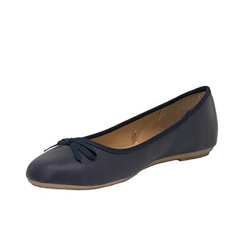Fitters Footwear That Fits Damen Ballerina Lina PU Klassische Ballerinas Lederimitat Basic Übergröße (45 EU, dunkelblau)