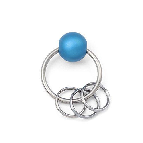 Schlüsselanhänger mit Kugel zum öffnen und 3 Ringen (Blau)