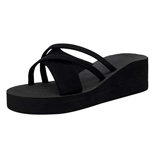 Femme Tongs Été Chaussons à Talons Hauts Sandales Pantoufle Flip-Flop Clip Toe Shoes Mode Chaussures à Plateforme de Plage Compensé pour Maison Vacances Bluestercool