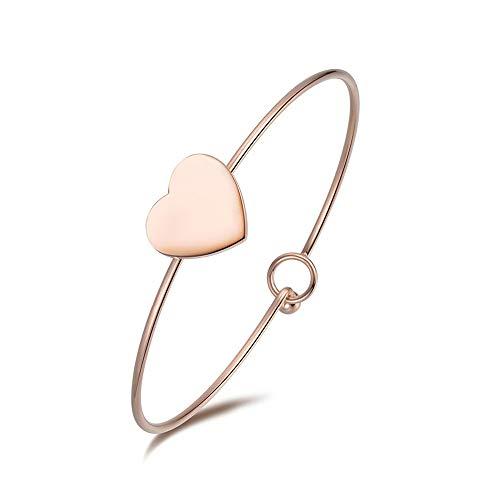 Emma gioielli–pulsera para mujer Rígida de acero de alta calidad PL. Oro Rosa 18K Corazón Moda Amor Love–caja de regalo