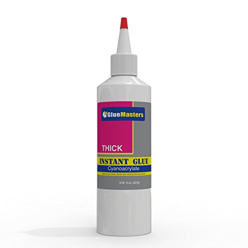 Professional Grade Cyanoacrylate (CA)'Super Glue' by Glue Masters - Extra Large 8 OZ (226-gram) Bottle with Protective Cap - Thick Viscosity Adhesive for Plastic, Wood & DIY Crafts