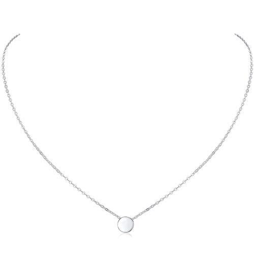 ChicSilver Colgante Redondo Pequeño Plata de Ley 925 Platino Collar Minimalista de Moda Cadena Eslabones Redondos Extensible Joyería De Moda para Mujeres