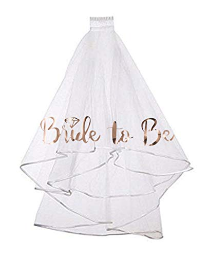 Rose Gold Print Bride to be Veil for Bachelorette Party Supplies Bridal Shower Wedding Decorations by Ucity