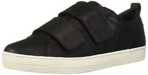Lacoste Women's Straightset Strap Sneaker, Black/Off-White, 6.5 Medium US