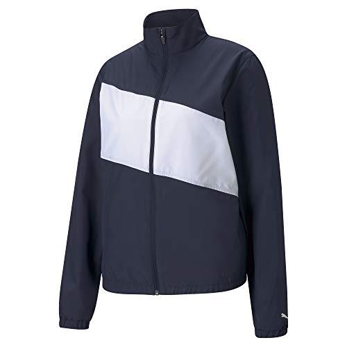 PUMA 530155 First Mile - Chaqueta cortavientos para mujer, Mujer, 530155, Blazer azul marino, blanco brillante, XXL