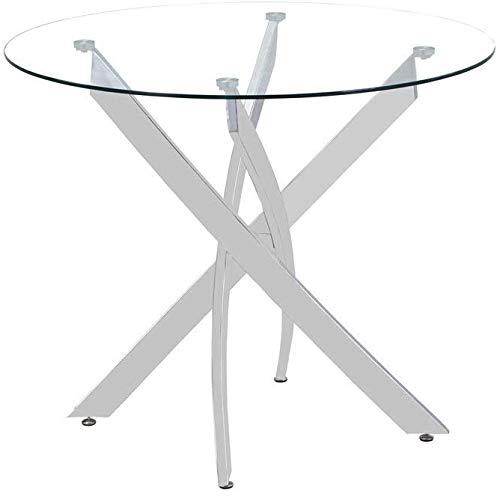 GOLDFAN Esstisch Rund Glas 100cm Moderner Verchromte Beine Geeignet für Esszimmer Büro Wohnzimmer