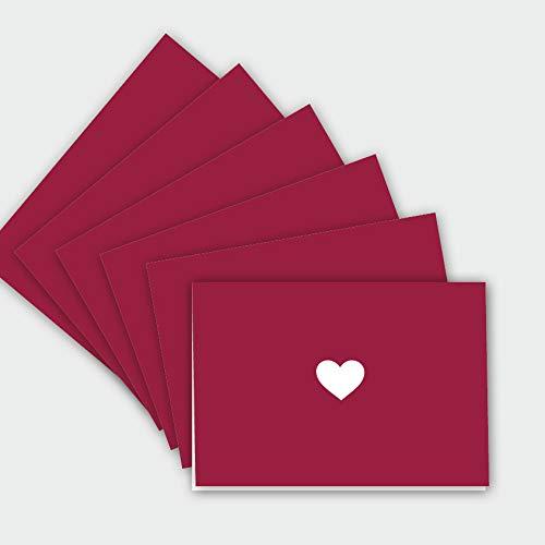 hejjo 6x Set moderne rote Klappkarten mit Herz I Blanko Karten für Geburtstage Einladungen Valentinstag I Fair produziert I Albin