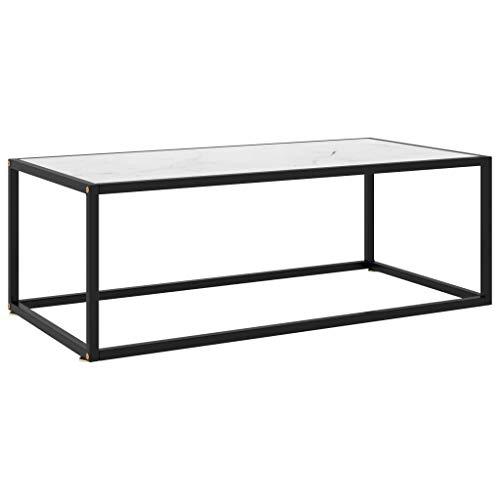 vidaXL Beistelltisch Couchtisch Kaffeetisch Wohnzimmertisch Sofatisch Teetisch Glastisch Tisch Schwarz mit Weißer Marmor-Optik Glas 100x50x35cm