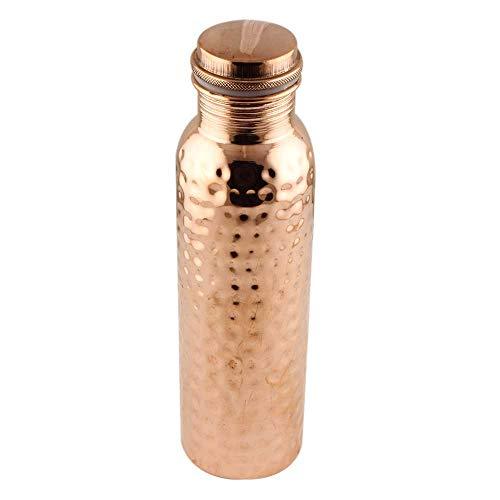 Botella de agua de cobre puro perfecto ayurvédico de cobre para deportes, fitness, yoga, beneficios naturales para la salud 600 ml (martillado)