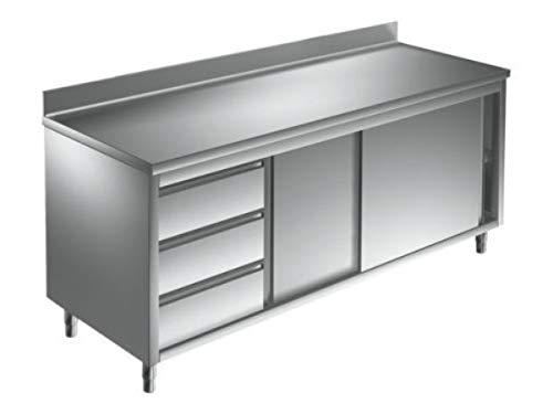 Arbeitsschrank 1,8 x 0,7 m - mit Schiebetüren, Aufkantung und Schubladen links